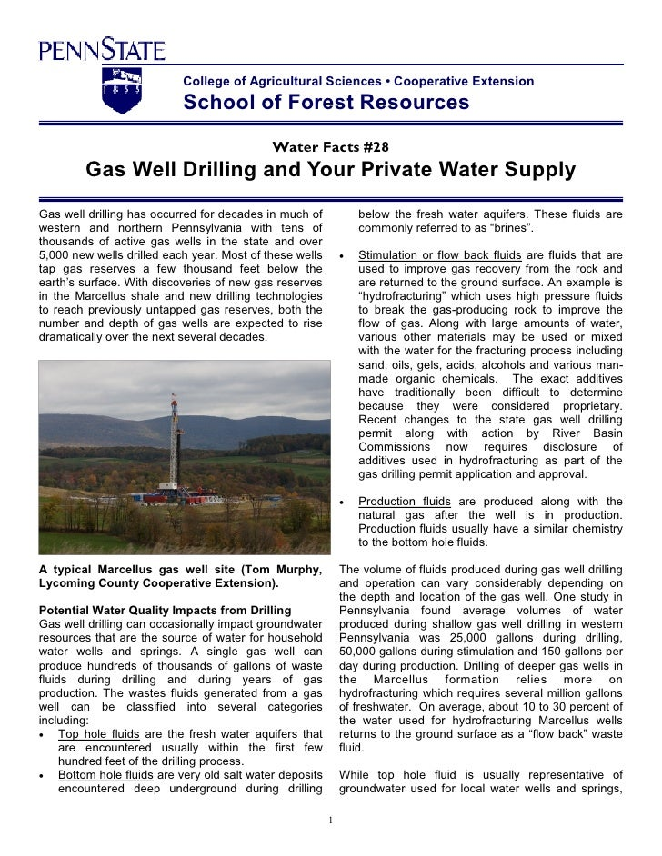 Gas Drilling Water Quality and Private Drinking Supplies