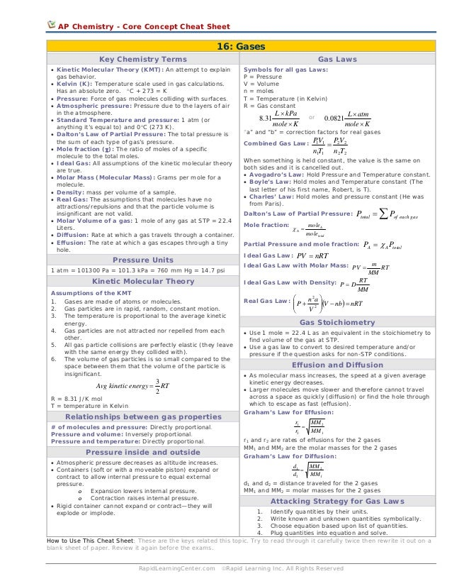 AP Chemistry - Core Concept Cheat Sheet  16: Gases Key Chemistry Terms  Gas Laws  • Kinetic Molecular Theory (KMT): An att...