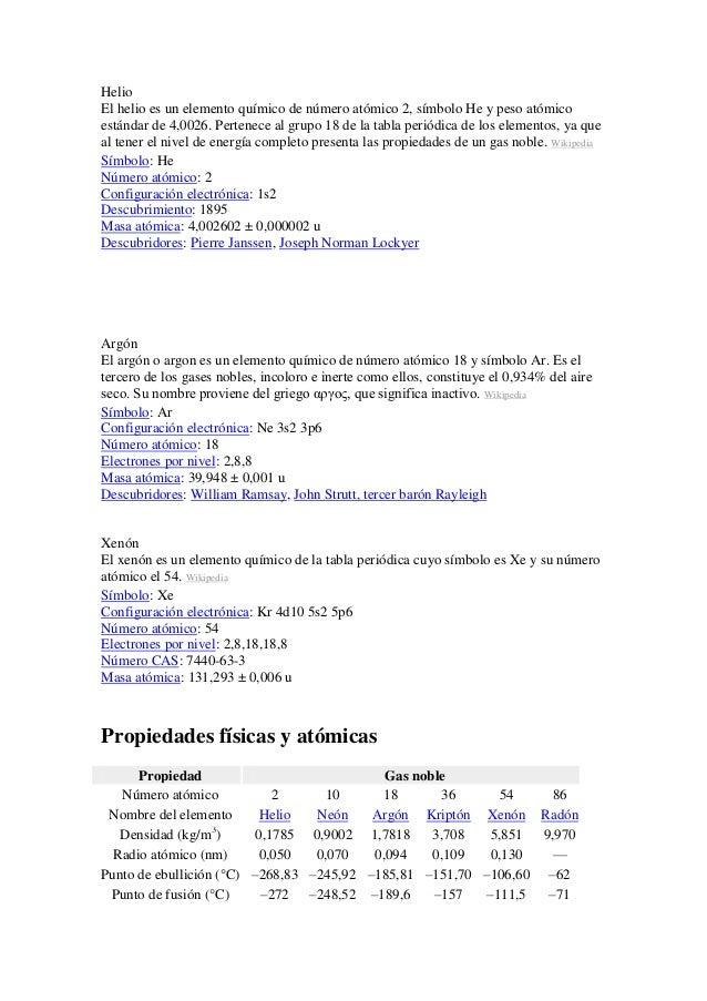 Helio El helio es un elemento químico de número atómico 2, símbolo He y peso atómico estándar de 4,0026. Pertenece al grup...
