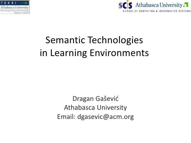 Semantic Technologies in Learning Environments