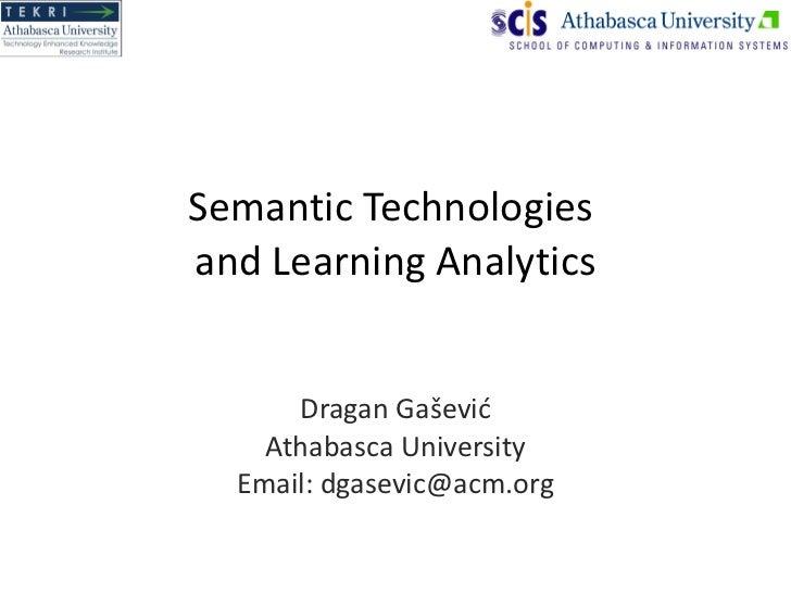 Semantic Technologies in Learning Analytics