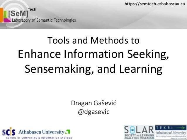 https://semtech.athabascau.ca     Tools and Methods toEnhance Information Seeking, Sensemaking, and Learning          Drag...
