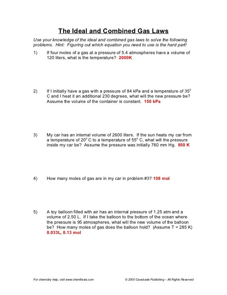 Printables Combined Gas Law Worksheet the ideal and combined gas laws worksheet answers davezan davezan