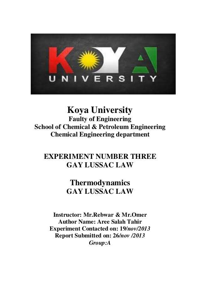 Koya University Faulty of Engineering School of Chemical & Petroleum Engineering Chemical Engineering department  EXPERIME...