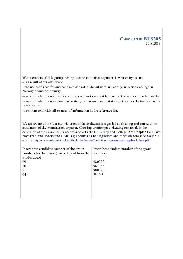 Gasmet business exam case UMB School Of Business and Economics 2013
