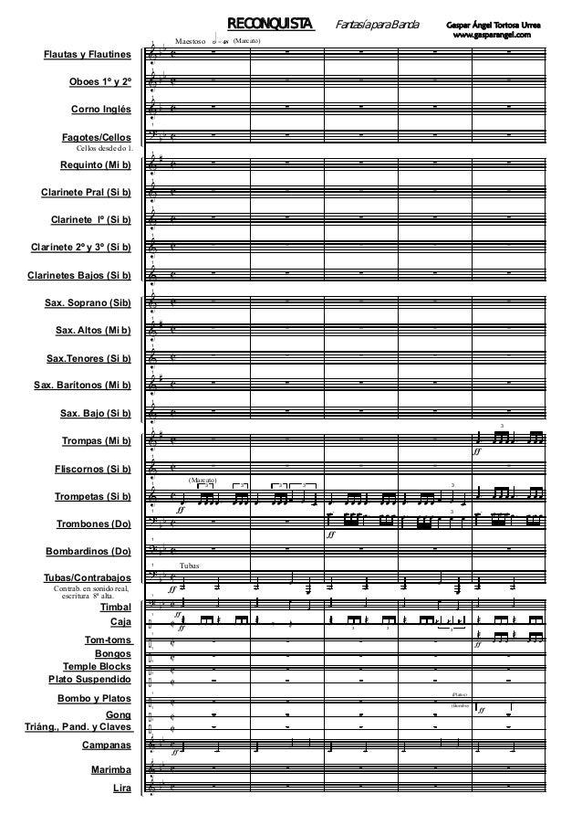 Flautas y Flautines Oboes 1º y 2º Corno Inglés Fagotes/Cellos Requinto (Mi b) Clarinete Pral (Si b) Clarinete lº (Si b) Cl...