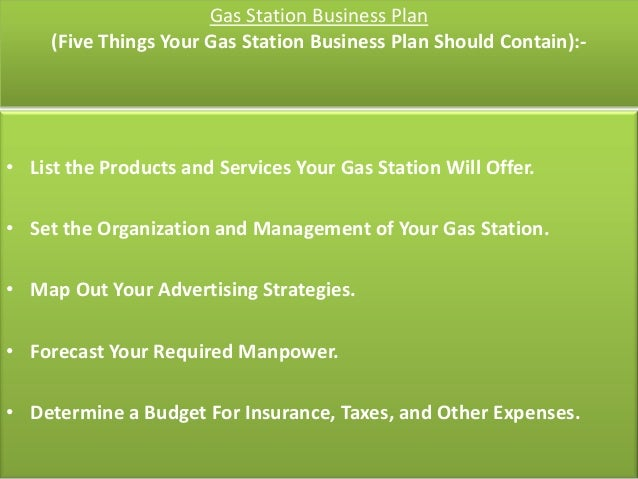 Service station business plan