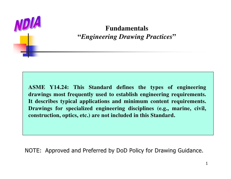 """Fundamentals                    """"Engineering Drawing Practices"""" ASME Y14.24: This Standard defines the types of engineerin..."""