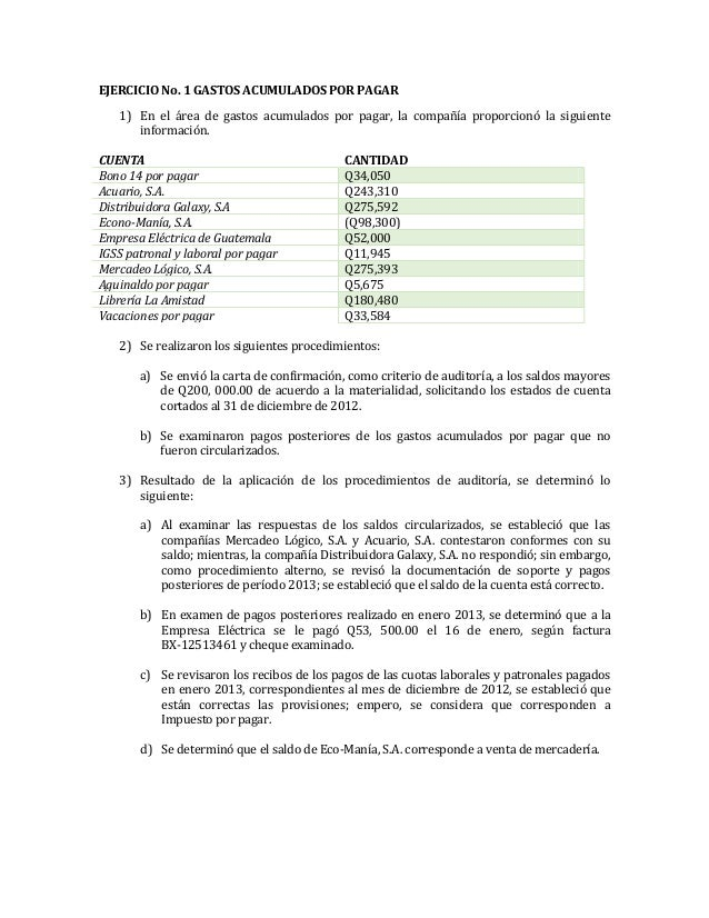 Gastos acumulados por pagar (auditoria)