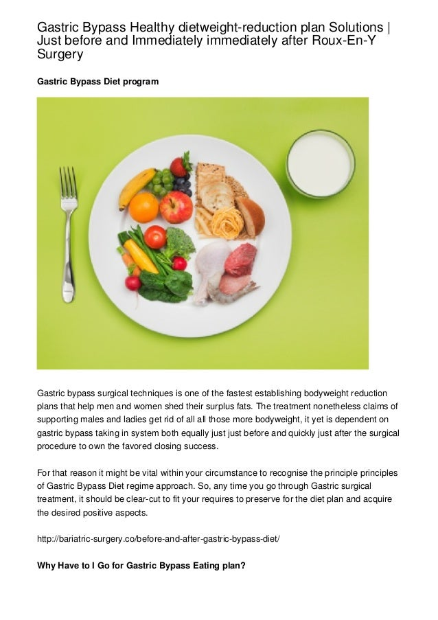 Gastric Bypass Healthy dietweight-reduction plan Solutions |Just before and Immediately immediately after Roux-En-YSurgery...