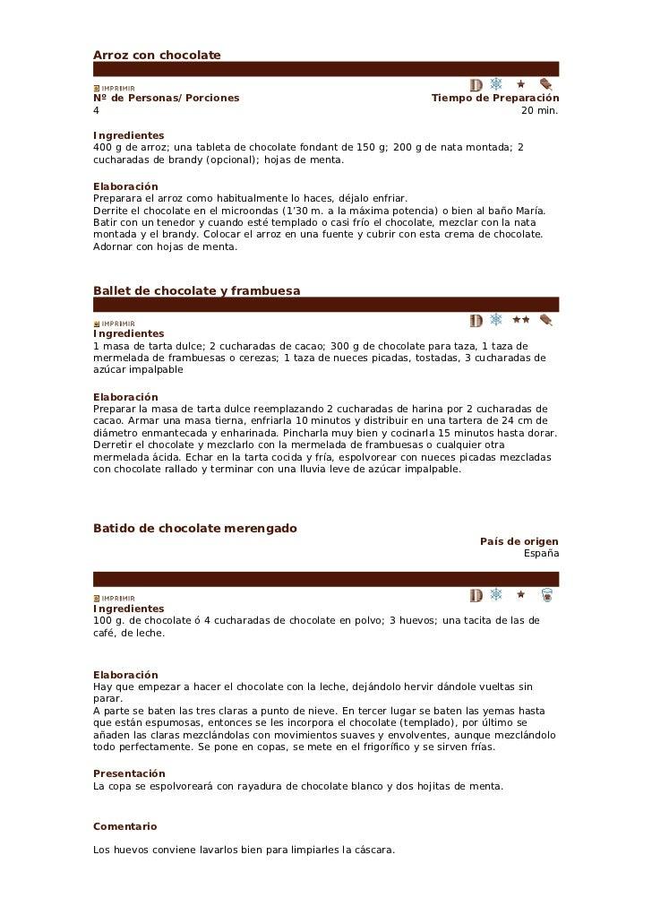Arroz con chocolateNº de Personas/Porciones                                           Tiempo de Preparación4              ...