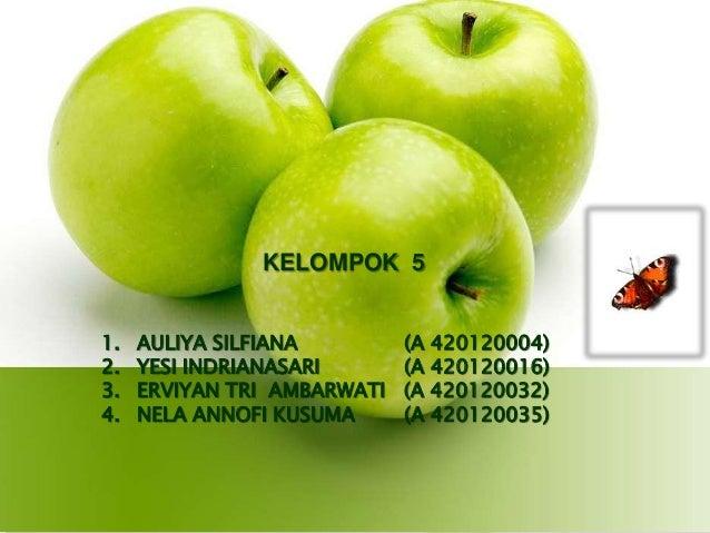 KELOMPOK 5 1. 2. 3. 4.  AULIYA SILFIANA YESI INDRIANASARI ERVIYAN TRI AMBARWATI NELA ANNOFI KUSUMA  (A 420120004) (A 42012...