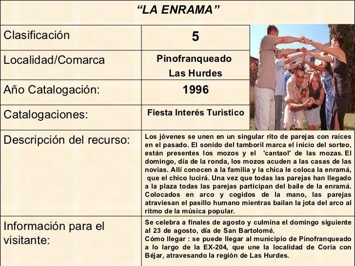 """"""" LA ENRAMA"""" Clasificación 5 Localidad/Comarca Pinofranqueado  Las Hurdes Año Catalogación: 1996 Catalogaciones: Fiesta In..."""