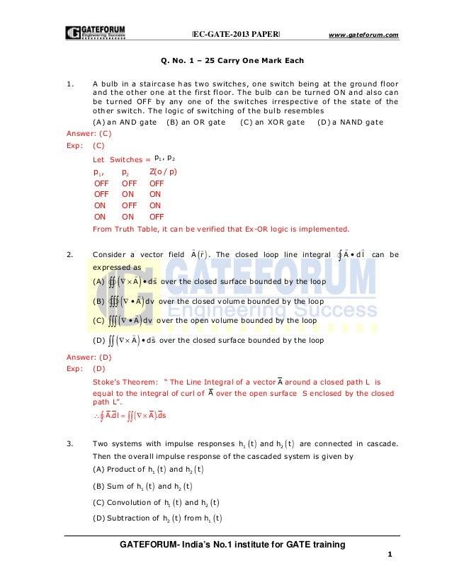 |EC-GATE-2013 PAPER| www.gateforum.com GATEFORUM- India's No.1 institute for GATE training 1 Q. No. 1 – 25 Carry One Mark ...