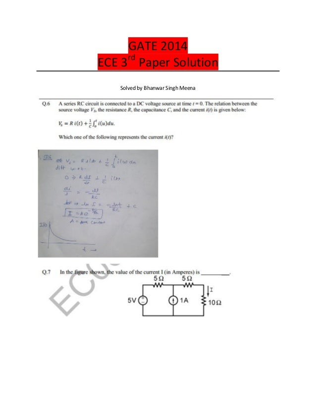 GATE 2014 ECE 3rd Paper Solution Solved by Bhanwar Singh Meena