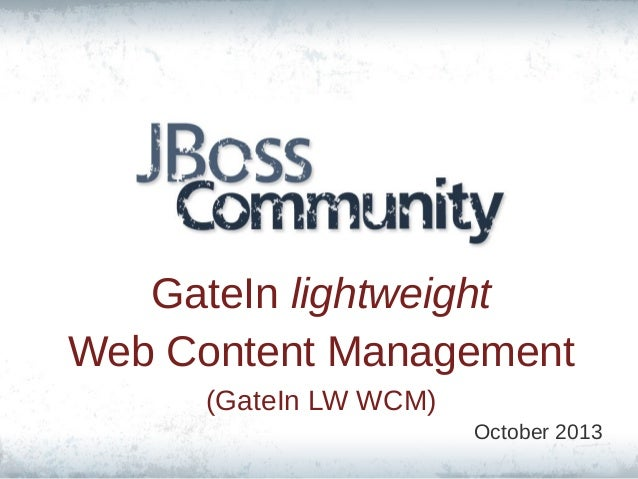 GateIn lightweight Web Content Management