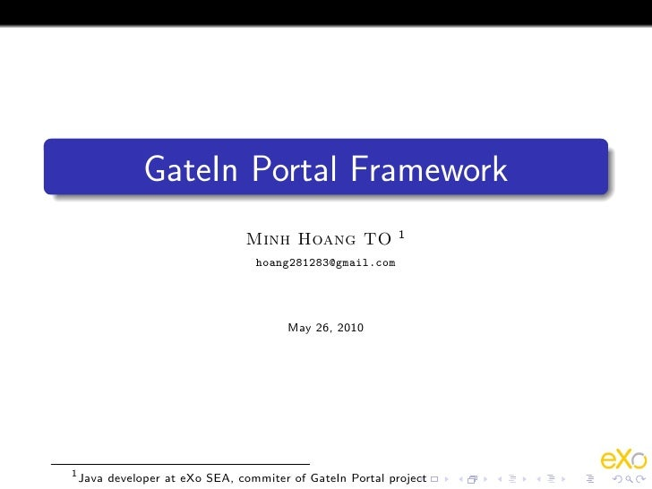 GateIn Portal Framework                                                          1                               Minh Hoan...