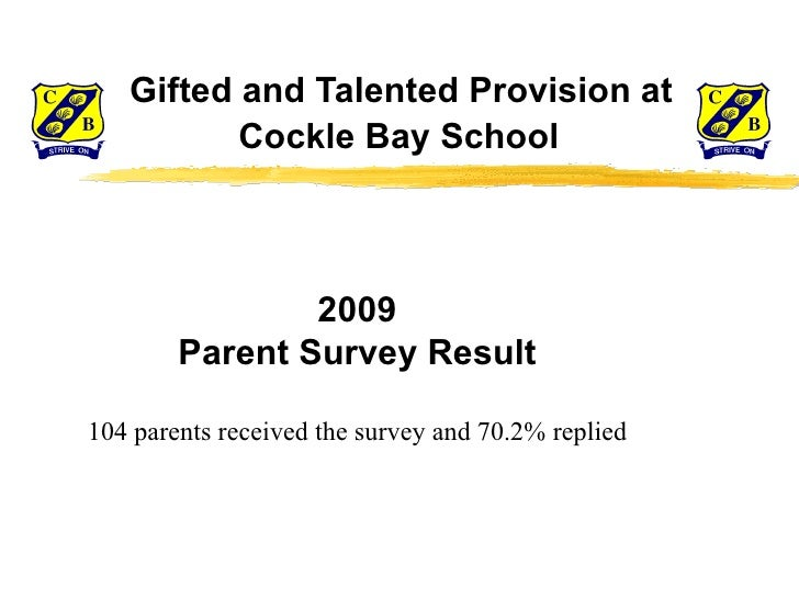 Gifted and Talented Provision at    Cockle Bay School 2009 Parent Survey Result 104 parents received the survey and 70.2...