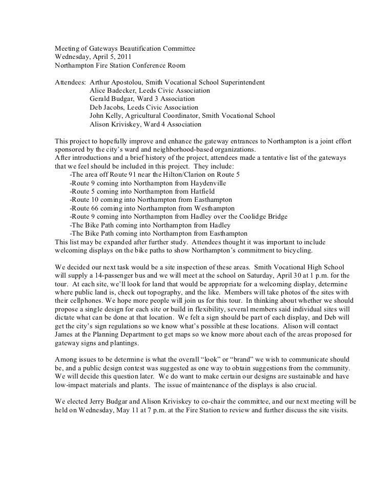 Gateways Beautification Committee Meeting 01 Minutes 05 April 2011