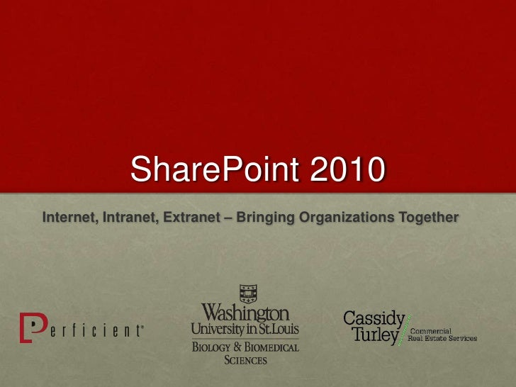 SharePoint 2010Internet, Intranet, Extranet – Bringing Organizations Together