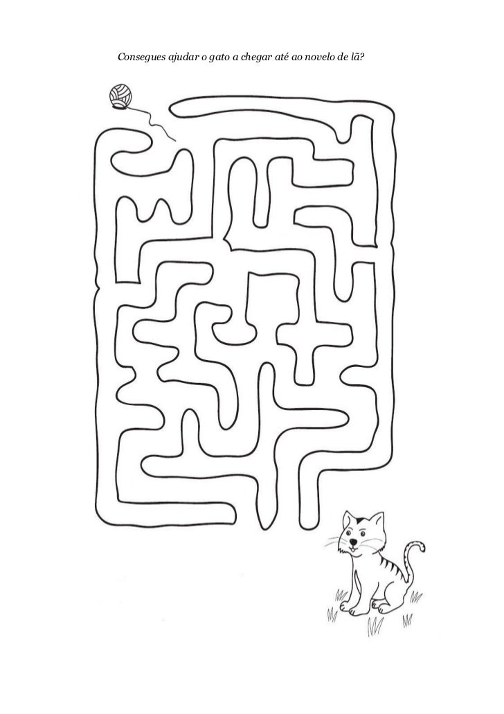 Consegues ajudar o gato a chegar até ao novelo de lã?
