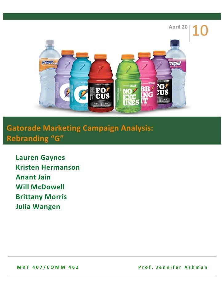 Gatorade Marketing Campaign Analysis: Rebranding G