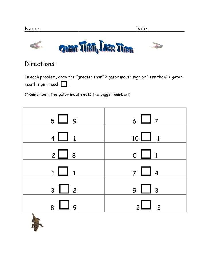 Gator than less than worksheet