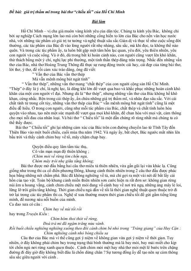Gía trị thẳm mỹ trong bài thơ chiều tối  của hồ chí minhtruonghocso.com