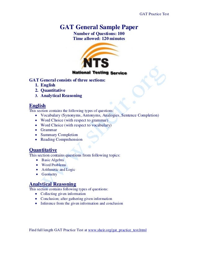 GAT Practice Test                   GAT General Sample Paper                           Number of Questions: 100           ...