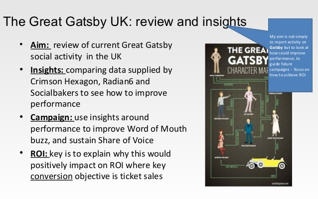 The Great Gatsby UK: review and insights• Aim: review of current Great Gatsbysocial activity in the UK• Insights: comparin...