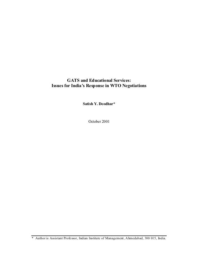 GATS and Educational Services:             Issues for India's Response in WTO Negotiations                                ...
