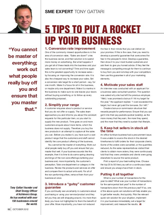 "SME EXPERT TONY GATTARI                             5 TIPS TO PUT A ROCKET                             UP YOUR BUSINESS""Yo..."