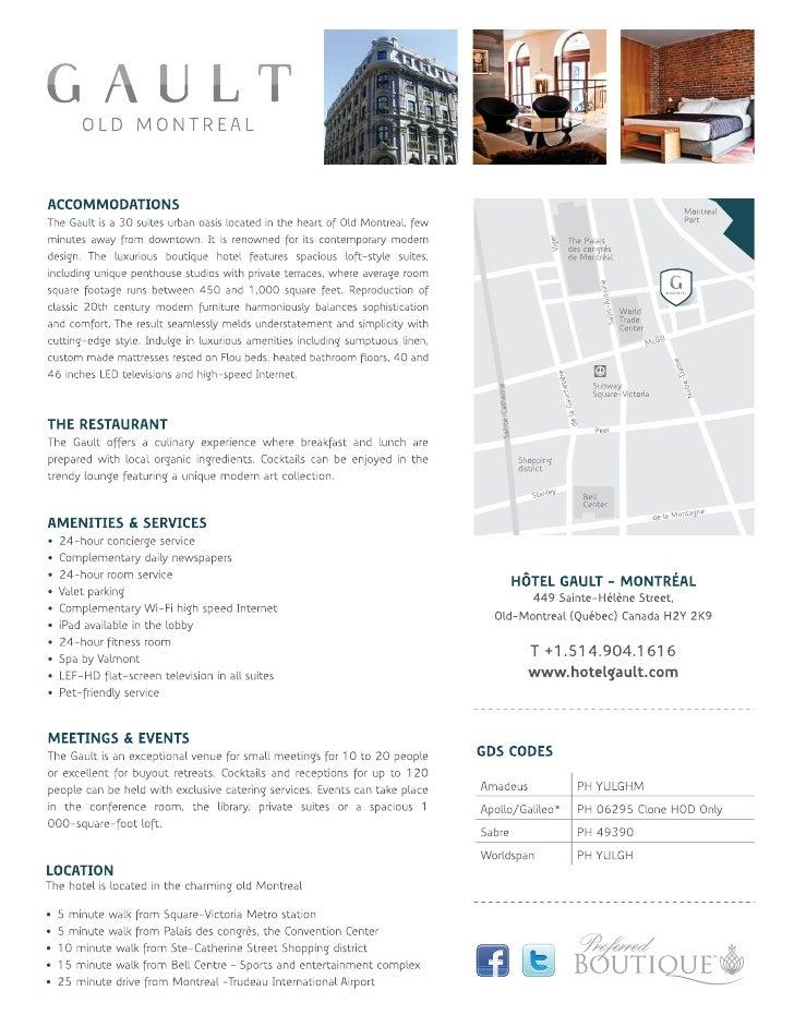 Hotel Gault factsheet