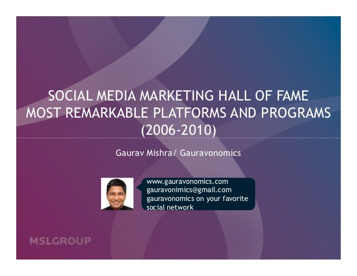 SOCIAL MEDIA MARKETING HALL OF FAMEMOST REMARKABLE PLATFORMS AND PROGRAMS               (2006-2010)           Gaurav Mishr...