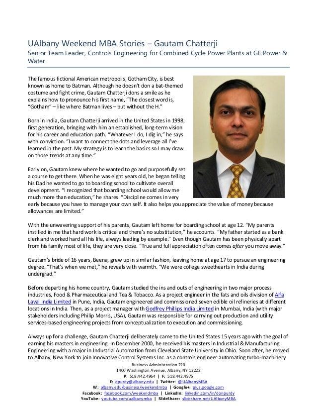 UAlbany Weekend MBA Stories - Gautam Chatterji