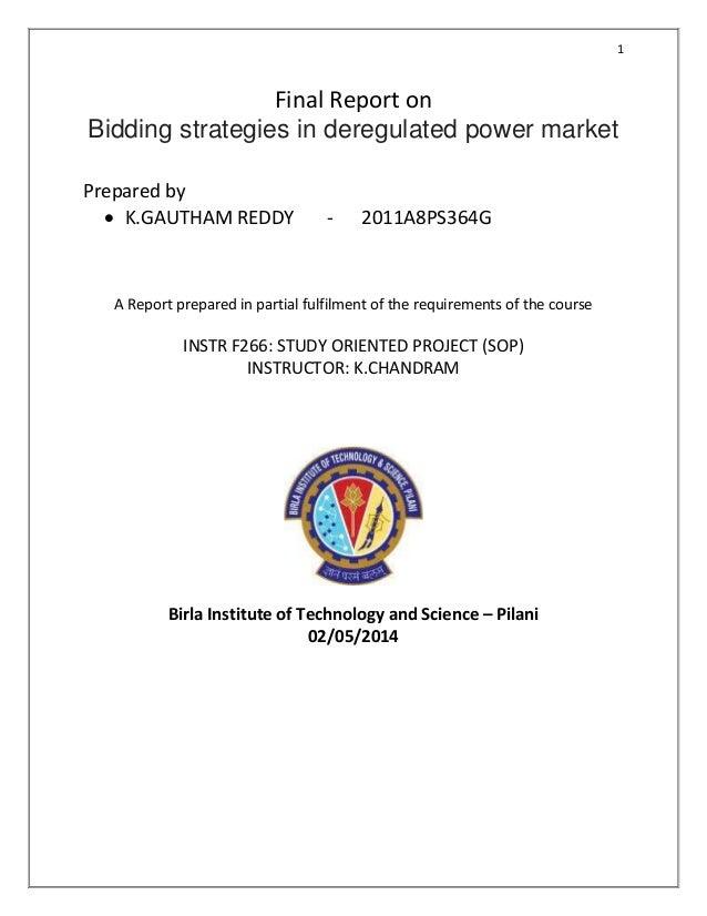 Bidding strategies in deregulated power market