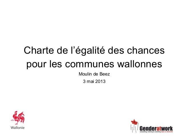 Charte de l'égalité des chancespour les communes wallonnesMoulin de Beez3 mai 2013