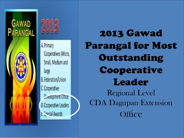 2013 Gawad Parangal for Most Outstanding Cooperative Leader Regional Level CDA Dagupan Extension Office