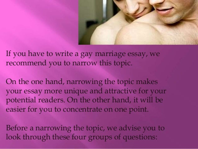 same sex marriage essays thesis Read the essay that helped start the gay marriage movement same-sex couple sullivan recalls a moment debating gay marriage on tv shortly after his essay came.