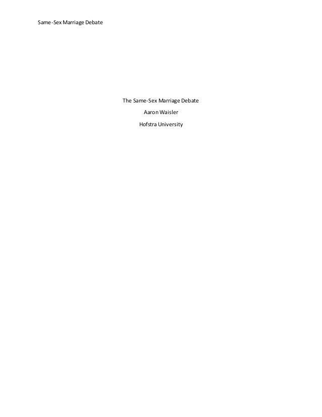 Gay Marriage Essay Thesis