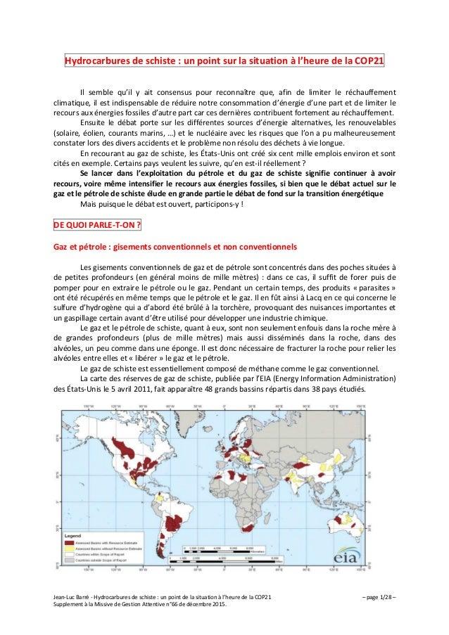 Jean-Luc Barré - Hydrocarbures de schiste : un point de la situation à l'heure de la COP21 – page 1/28 – Supplement à la M...