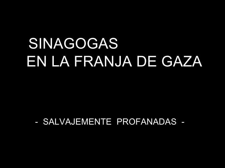 SINAGOGAS  EN LA FRANJA DE GAZA -  SALVAJEMENTE  PROFANADAS  -