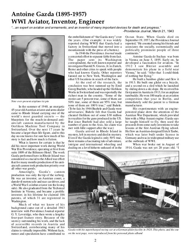 """Antoine Gazda (1895-1957)WWI Aviator, Inventor, Engineer""""…an expert on aviation and armaments, and an inventor of many imp..."""