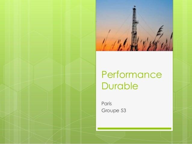 Performance Durable Paris Groupe 53