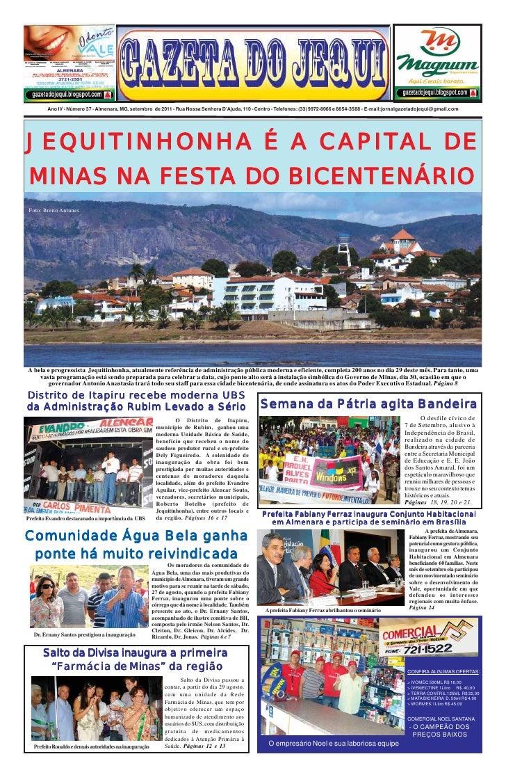 Ano IV - Número 37 - Almenara, MG, setembro de 2011 - Rua Nossa Senhora D'Ajuda, 110 - Centro - Telefones: (33) 9972-8066 ...