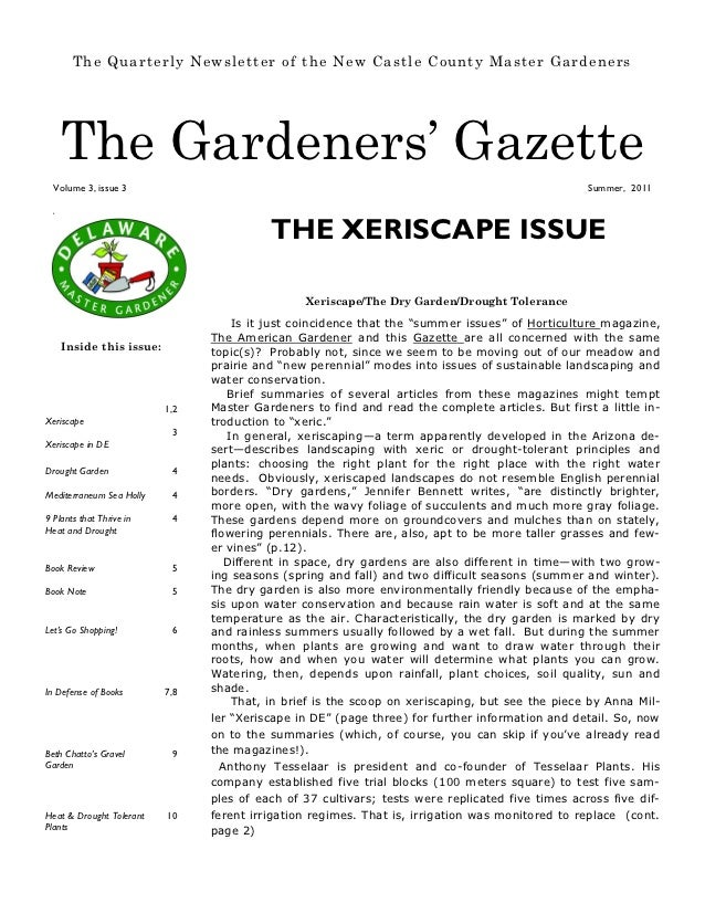 The Xeriscape Issue - the Gardeners' Gazette, Deleware Master Gardeners