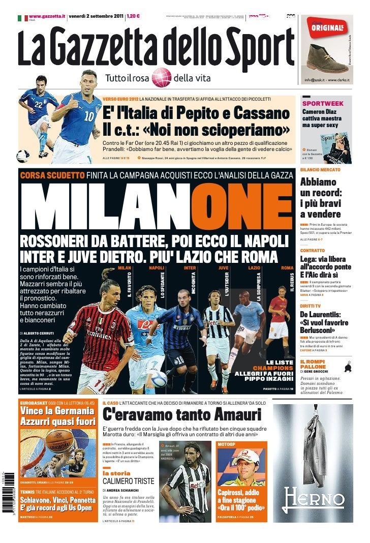 www.gazzetta.it venerdì 2 settembre 2011 1,20 €                                                    REDAZIONE DI MILANO VIA...