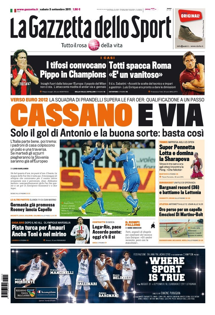 www.gazzetta.it sabato 3 settembre 2011 1,50 €                                                 REDAZIONE DI M LANO VIA SOL...