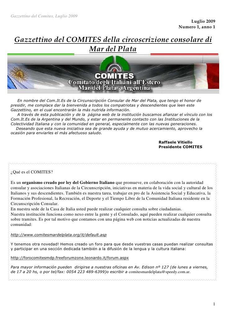 Gazzettino Del  Comites, Luglio 2009