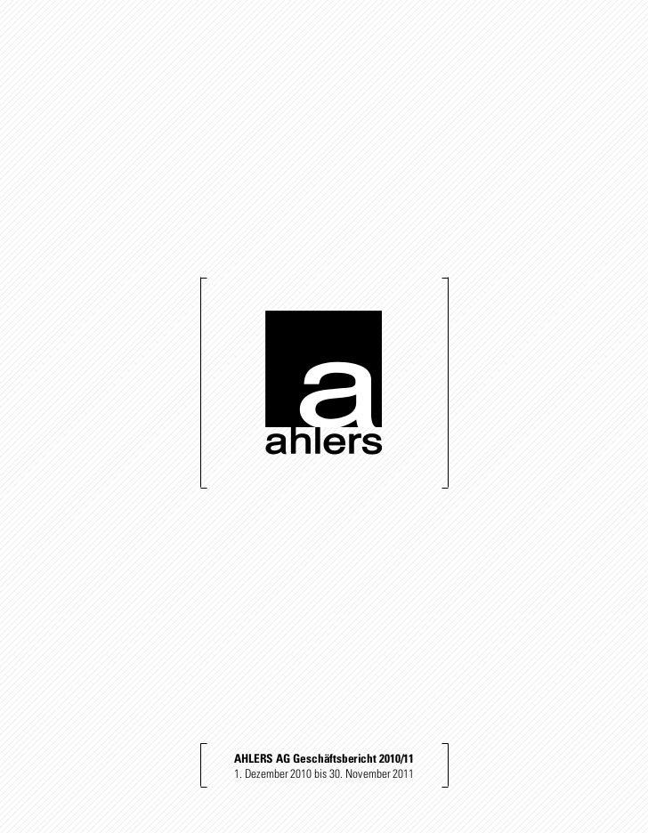 Ahlers AG Geschäftsbericht 2010/111. Dezember 2010 bis 30. November 2011